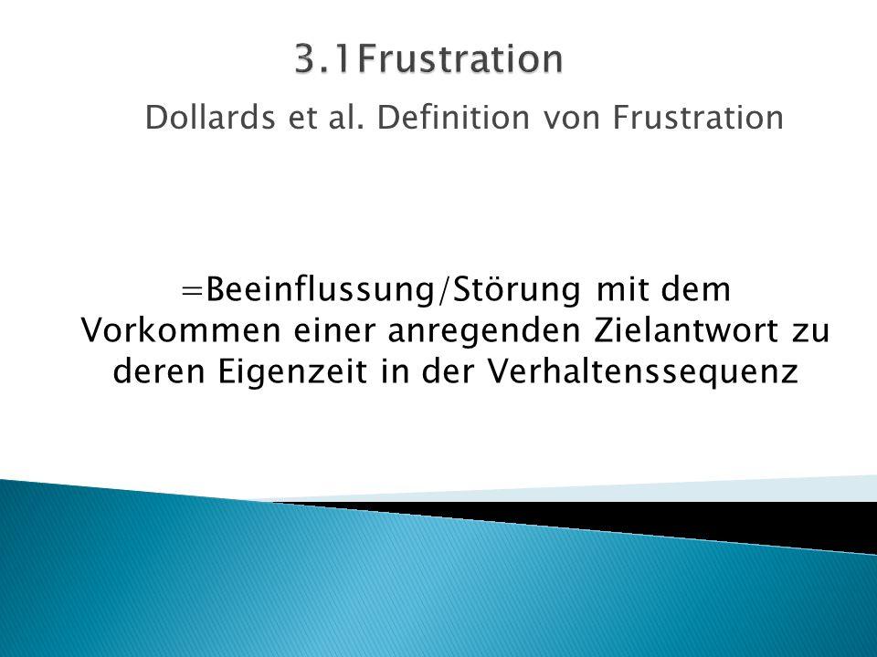 Dollards et al. Definition von Frustration =Beeinflussung/Störung mit dem Vorkommen einer anregenden Zielantwort zu deren Eigenzeit in der Verhaltenss
