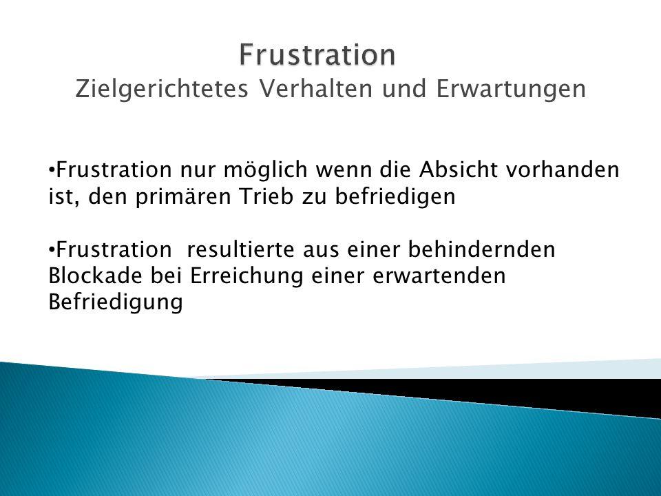 Zielgerichtetes Verhalten und Erwartungen Frustration nur möglich wenn die Absicht vorhanden ist, den primären Trieb zu befriedigen Frustration result