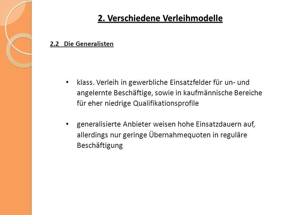 2. Verschiedene Verleihmodelle 2.2 Die Generalisten klass.