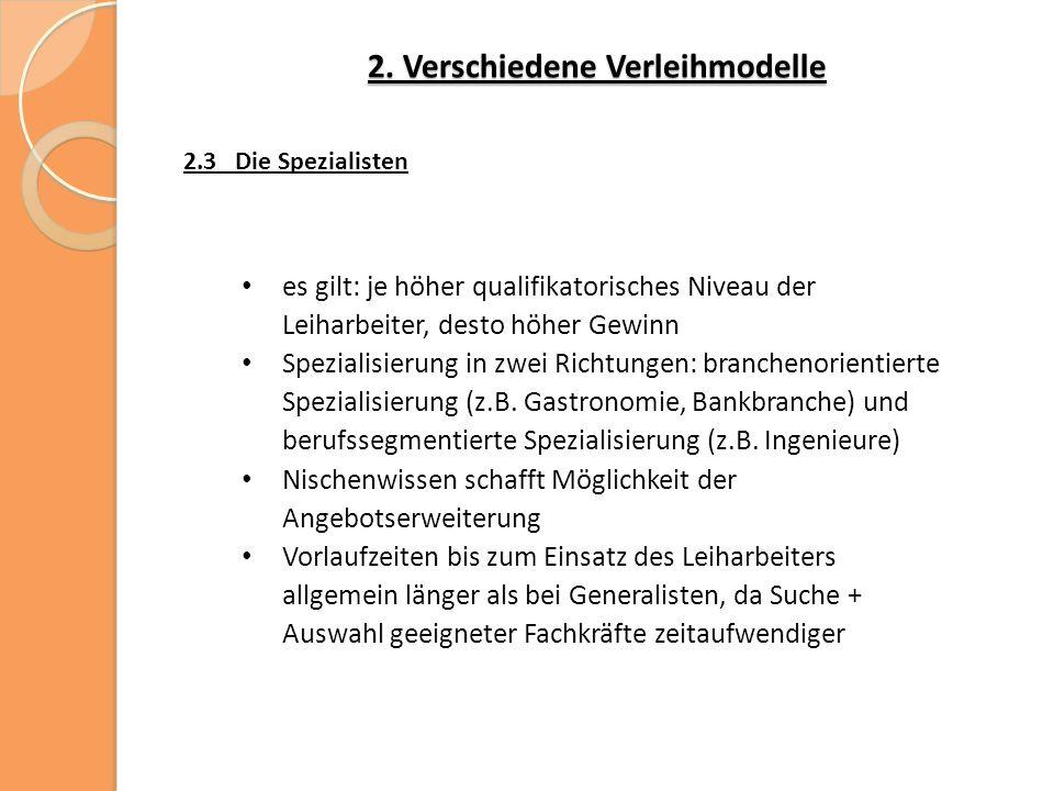 2. Verschiedene Verleihmodelle 2.3 Die Spezialisten es gilt: je höher qualifikatorisches Niveau der Leiharbeiter, desto höher Gewinn Spezialisierung i