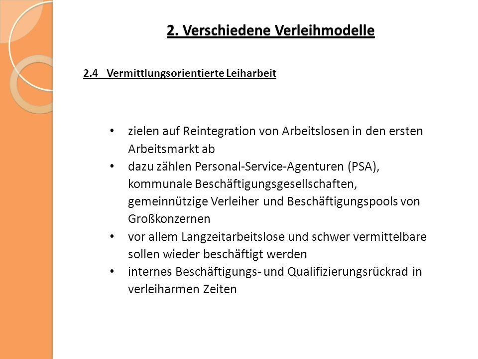 2. Verschiedene Verleihmodelle 2.4 Vermittlungsorientierte Leiharbeit zielen auf Reintegration von Arbeitslosen in den ersten Arbeitsmarkt ab dazu zäh
