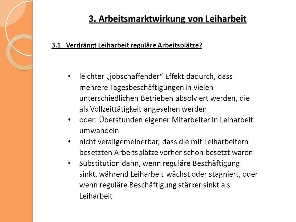 3. Arbeitsmarktwirkung von Leiharbeit 3.1 Verdrängt Leiharbeit reguläre Arbeitsplätze.
