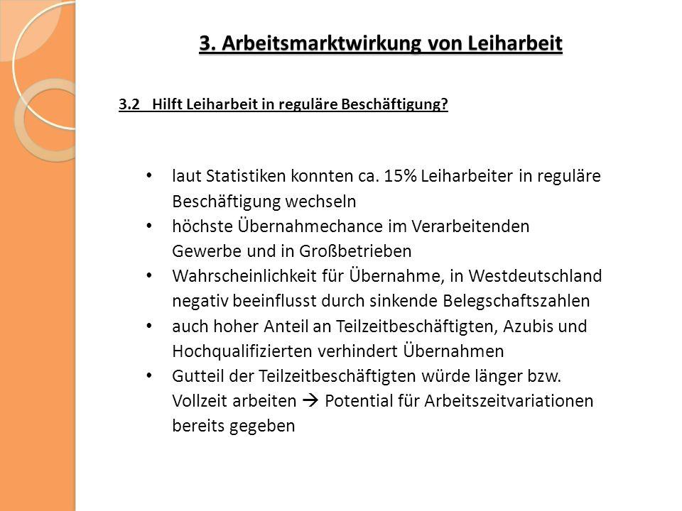 3. Arbeitsmarktwirkung von Leiharbeit 3.2 Hilft Leiharbeit in reguläre Beschäftigung.