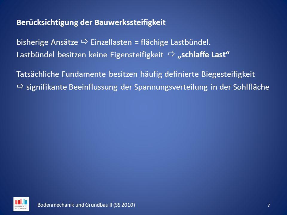 18 Bodenmechanik und Grundbau II (SS 2010) Grenztiefe Die Summation ist grundsätzlich über die gesamte Spannungsfläche vorzunehmen.