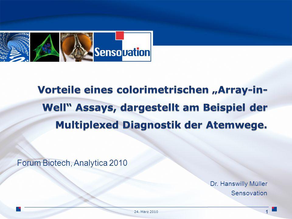 24. März 2010 Forum Biotech, Analytica 2010 Dr. Hanswilly Müller Sensovation 1