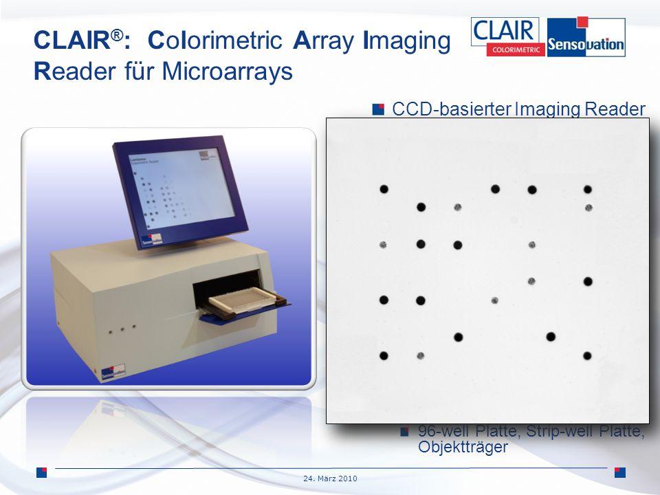 24. März 2010 CLAIR ® : Colorimetric Array Imaging Reader für Microarrays CCD-basierter Imaging Reader Geeigent für IVD Eigenständiges Gerät Mit einge