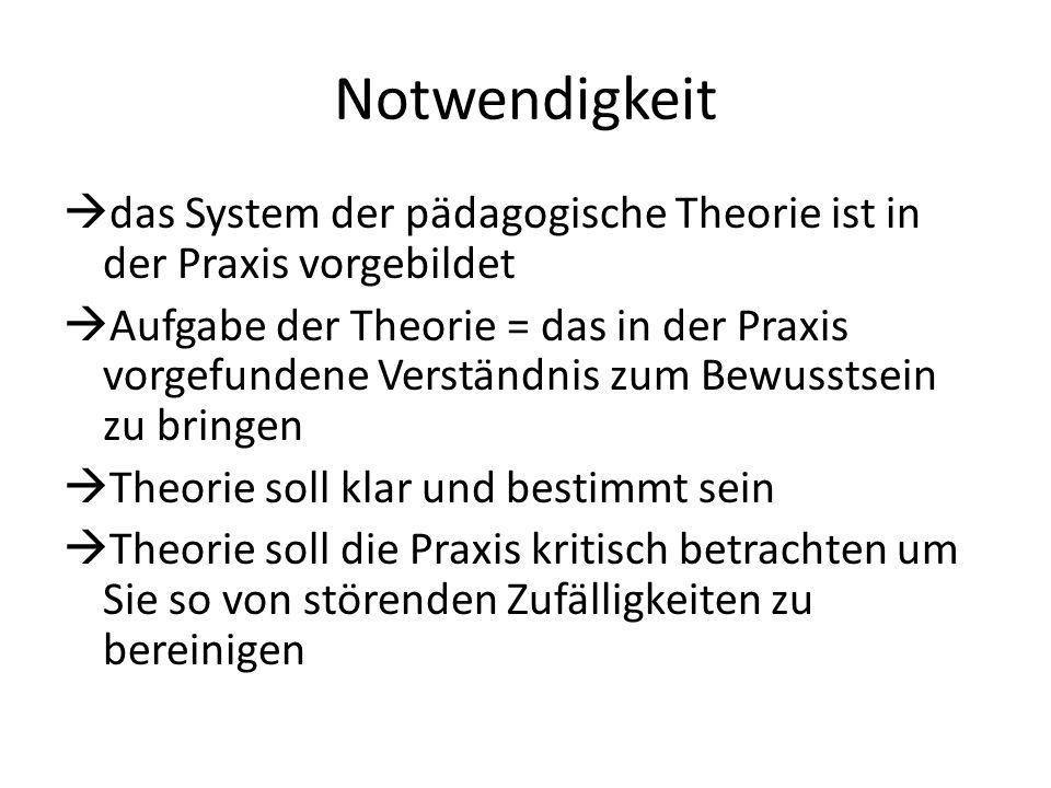 Notwendigkeit  das System der pädagogische Theorie ist in der Praxis vorgebildet  Aufgabe der Theorie = das in der Praxis vorgefundene Verständnis z