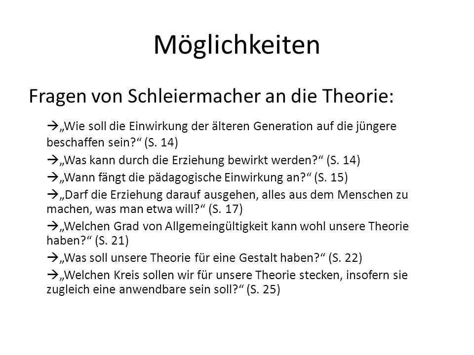"""Möglichkeiten Fragen von Schleiermacher an die Theorie:  """"Wie soll die Einwirkung der älteren Generation auf die jüngere beschaffen sein?"""" (S. 14) """