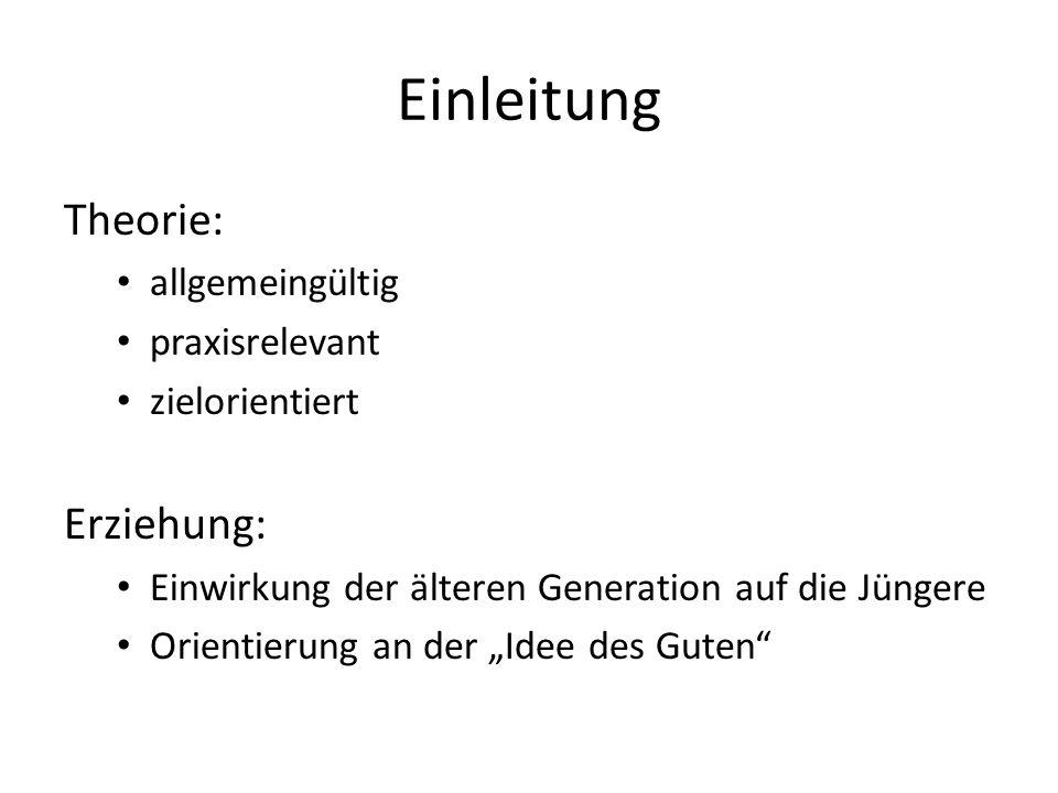 """Einleitung Theorie: allgemeingültig praxisrelevant zielorientiert Erziehung: Einwirkung der älteren Generation auf die Jüngere Orientierung an der """"Id"""