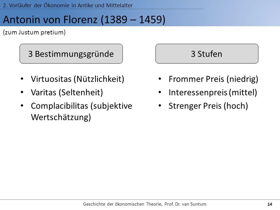Antonin von Florenz (1389 – 1459) 2. Vorläufer der Ökonomie in Antike und Mittelalter Geschichte der ökonomischen Theorie, Prof. Dr. van Suntum 14 (zu