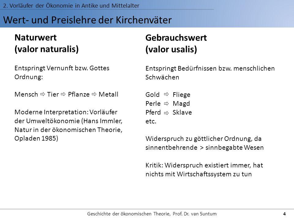 Wert- und Preislehre der Kirchenväter 2. Vorläufer der Ökonomie in Antike und Mittelalter Geschichte der ökonomischen Theorie, Prof. Dr. van Suntum 4