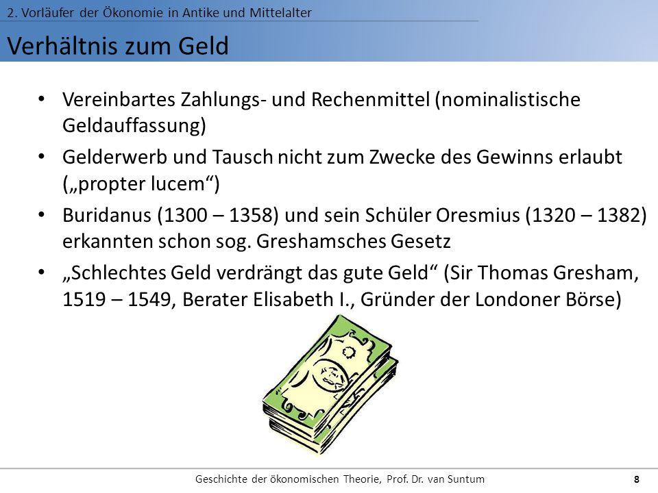 Verhältnis zum Geld 2. Vorläufer der Ökonomie in Antike und Mittelalter Geschichte der ökonomischen Theorie, Prof. Dr. van Suntum 8 Vereinbartes Zahlu