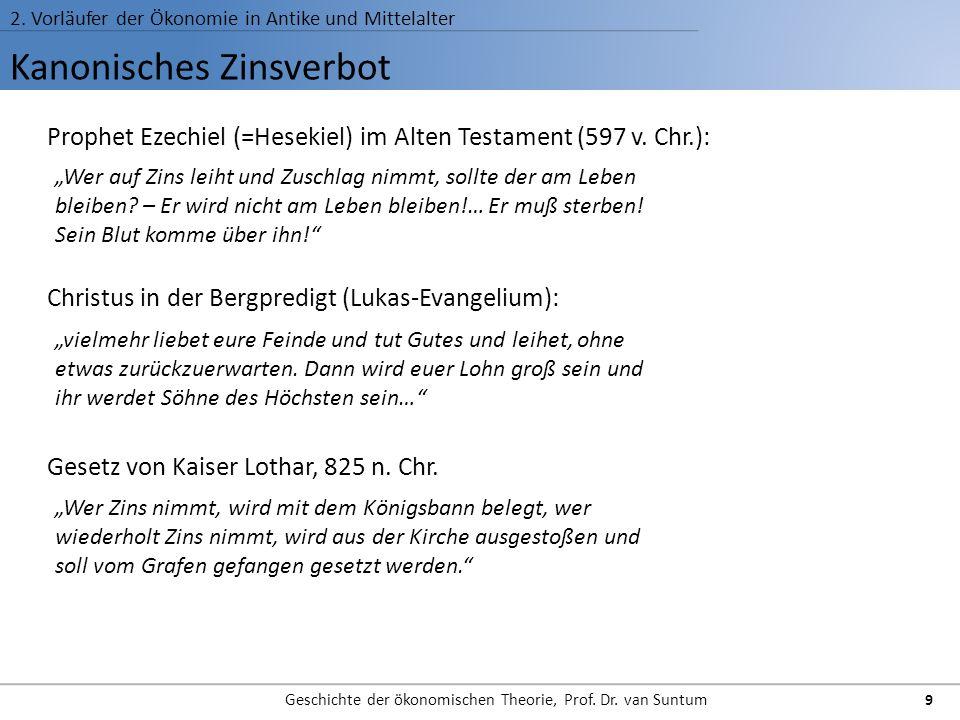 Kanonisches Zinsverbot 2. Vorläufer der Ökonomie in Antike und Mittelalter Geschichte der ökonomischen Theorie, Prof. Dr. van Suntum 9 Prophet Ezechie