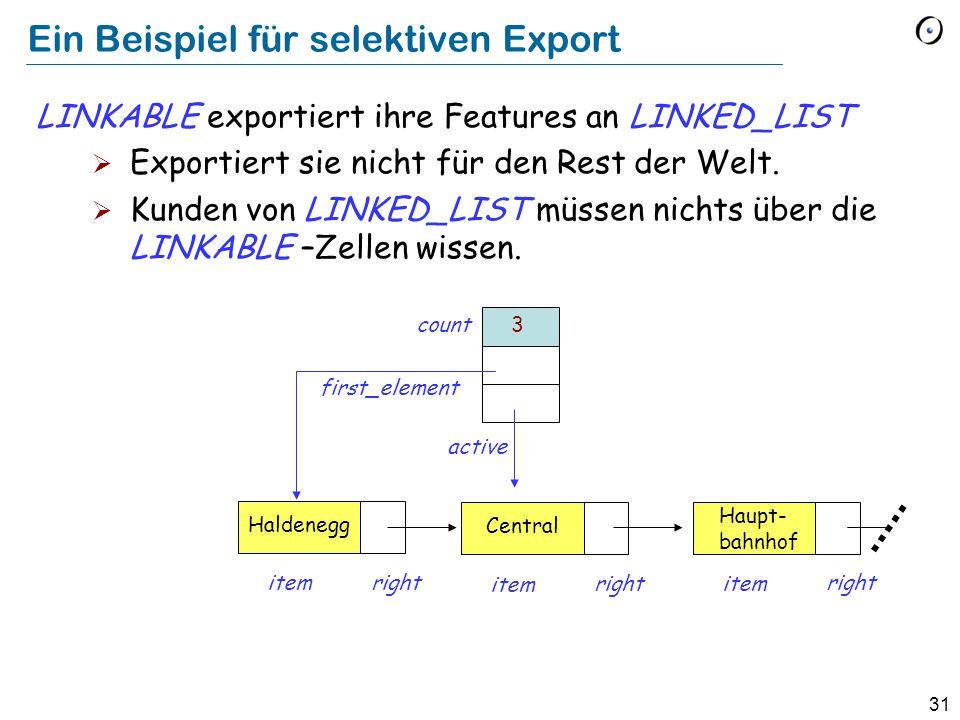 31 Ein Beispiel für selektiven Export LINKABLE exportiert ihre Features an LINKED_LIST  Exportiert sie nicht für den Rest der Welt.