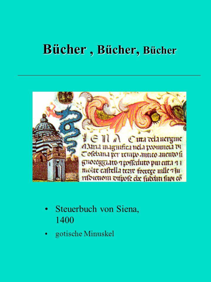 Bücher, Bücher, Bücher Steuerbuch von Siena, 1400 gotische Minuskel
