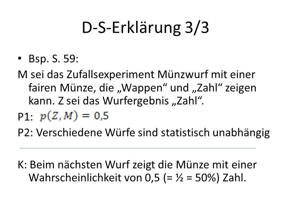 """D-S-Erklärung 3/3 Bsp. S. 59: M sei das Zufallsexperiment Münzwurf mit einer fairen Münze, die """"Wappen"""" und """"Zahl"""" zeigen kann. Z sei das Wurfergebnis"""