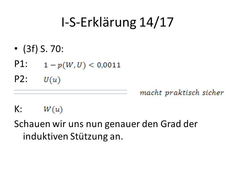 I-S-Erklärung 14/17 (3f) S. 70: P1: P2: K: Schauen wir uns nun genauer den Grad der induktiven Stützung an.