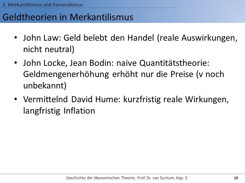 Geldtheorien in Merkantilismus 3. Merkantilismus und Kameralismus Geschichte der ökonomischen Theorie, Prof. Dr. van Suntum, Kap. 3 15 John Law: Geld