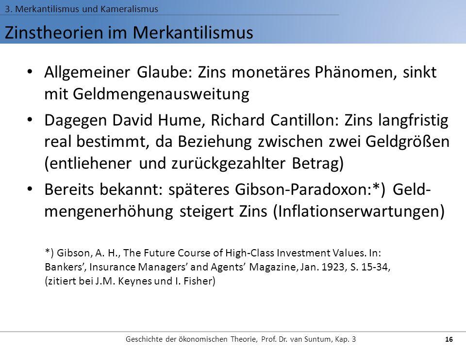 Zinstheorien im Merkantilismus 3. Merkantilismus und Kameralismus Geschichte der ökonomischen Theorie, Prof. Dr. van Suntum, Kap. 3 16 Allgemeiner Gla