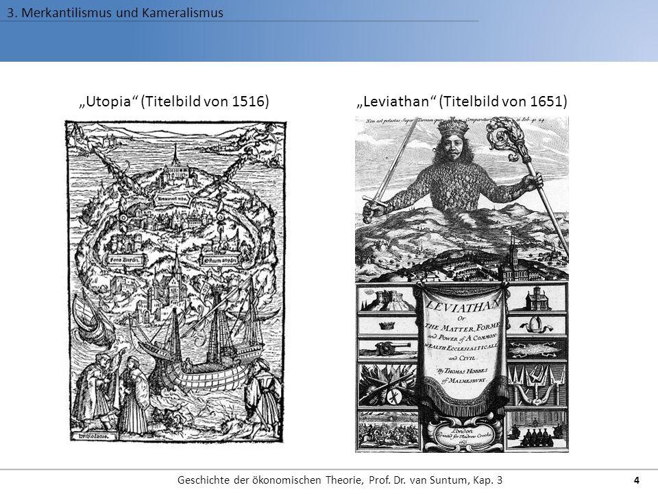 """3. Merkantilismus und Kameralismus Geschichte der ökonomischen Theorie, Prof. Dr. van Suntum, Kap. 3 4 """"Utopia"""" (Titelbild von 1516)""""Leviathan"""" (Titel"""