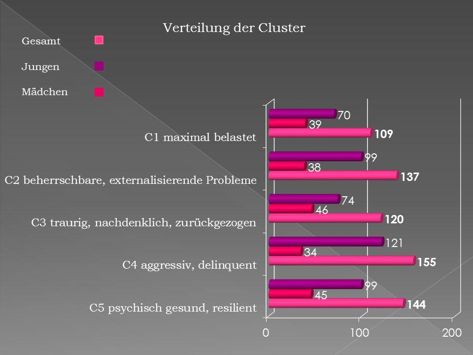 Verteilung der Cluster Gesamt Jungen Mädchen