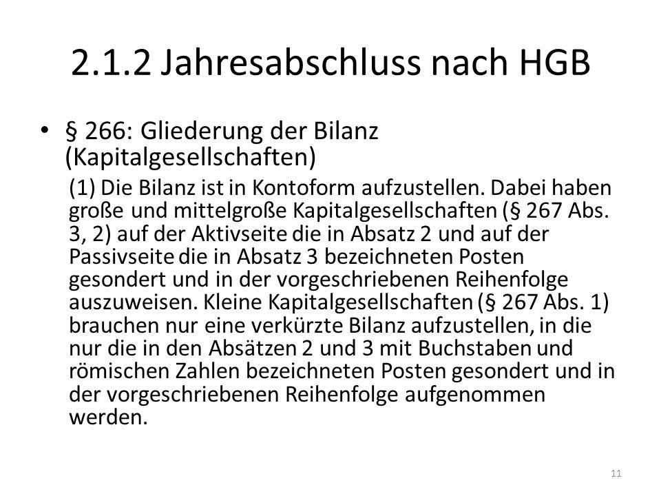 2.1.2 Jahresabschluss nach HGB § 266: Gliederung der Bilanz (Kapitalgesellschaften) (1) Die Bilanz ist in Kontoform aufzustellen.