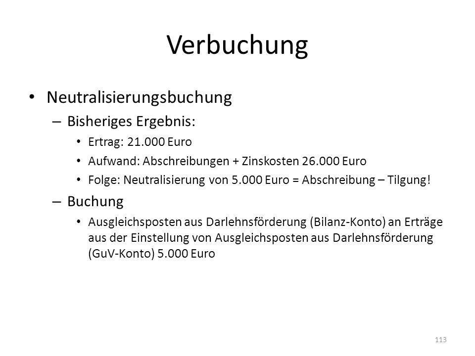 Verbuchung Neutralisierungsbuchung – Bisheriges Ergebnis: Ertrag: 21.000 Euro Aufwand: Abschreibungen + Zinskosten 26.000 Euro Folge: Neutralisierung von 5.000 Euro = Abschreibung – Tilgung.