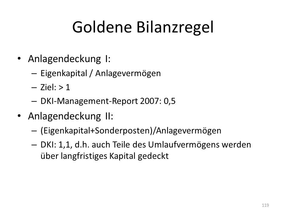 Goldene Bilanzregel Anlagendeckung I: – Eigenkapital / Anlagevermögen – Ziel: > 1 – DKI-Management-Report 2007: 0,5 Anlagendeckung II: – (Eigenkapital+Sonderposten)/Anlagevermögen – DKI: 1,1, d.h.