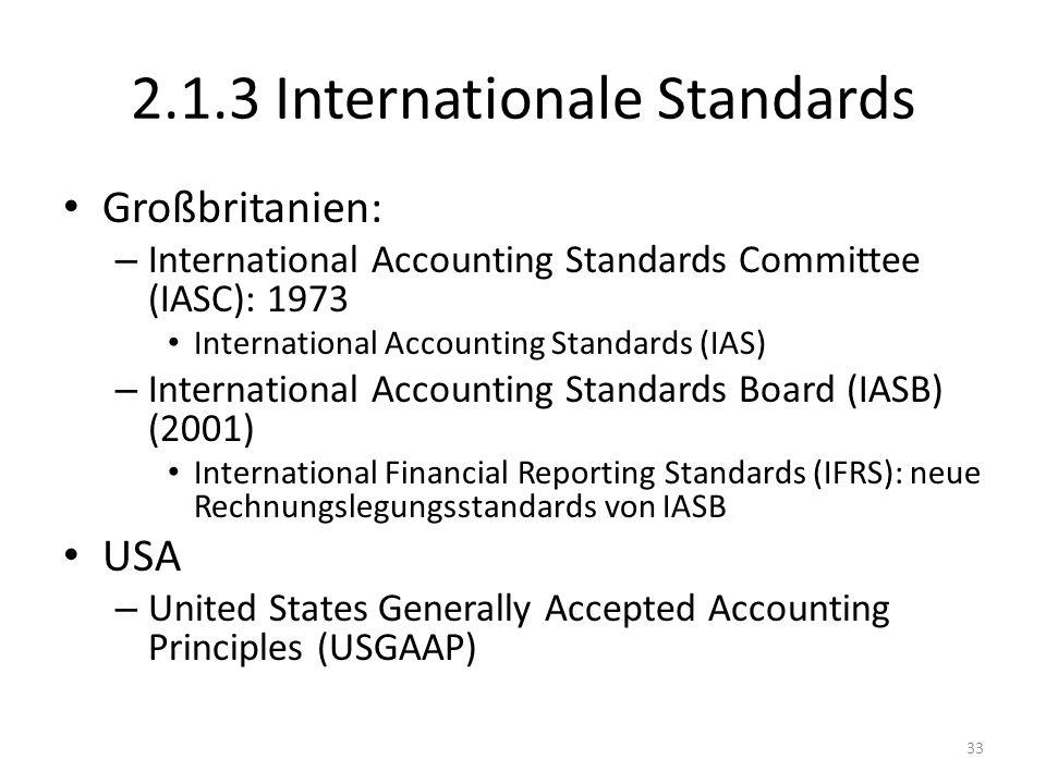 2.1.3 Internationale Standards Großbritanien: – International Accounting Standards Committee (IASC): 1973 International Accounting Standards (IAS) – International Accounting Standards Board (IASB) (2001) International Financial Reporting Standards (IFRS): neue Rechnungslegungsstandards von IASB USA – United States Generally Accepted Accounting Principles (USGAAP) 33