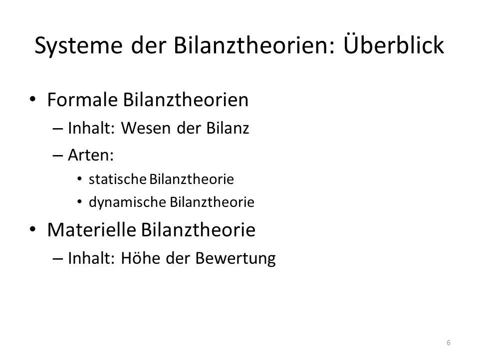 Systeme der Bilanztheorien: Überblick Formale Bilanztheorien – Inhalt: Wesen der Bilanz – Arten: statische Bilanztheorie dynamische Bilanztheorie Materielle Bilanztheorie – Inhalt: Höhe der Bewertung 6