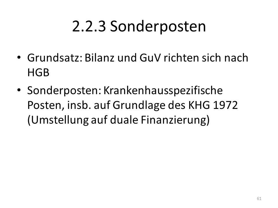 2.2.3 Sonderposten Grundsatz: Bilanz und GuV richten sich nach HGB Sonderposten: Krankenhausspezifische Posten, insb.