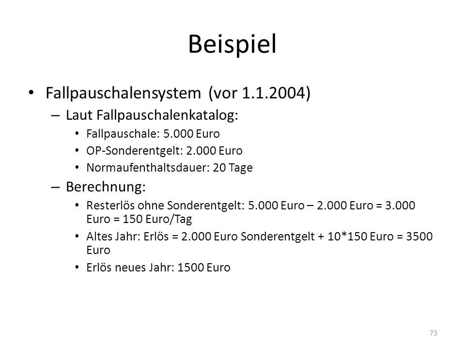 Beispiel Fallpauschalensystem (vor 1.1.2004) – Laut Fallpauschalenkatalog: Fallpauschale: 5.000 Euro OP-Sonderentgelt: 2.000 Euro Normaufenthaltsdauer: 20 Tage – Berechnung: Resterlös ohne Sonderentgelt: 5.000 Euro – 2.000 Euro = 3.000 Euro = 150 Euro/Tag Altes Jahr: Erlös = 2.000 Euro Sonderentgelt + 10*150 Euro = 3500 Euro Erlös neues Jahr: 1500 Euro 73