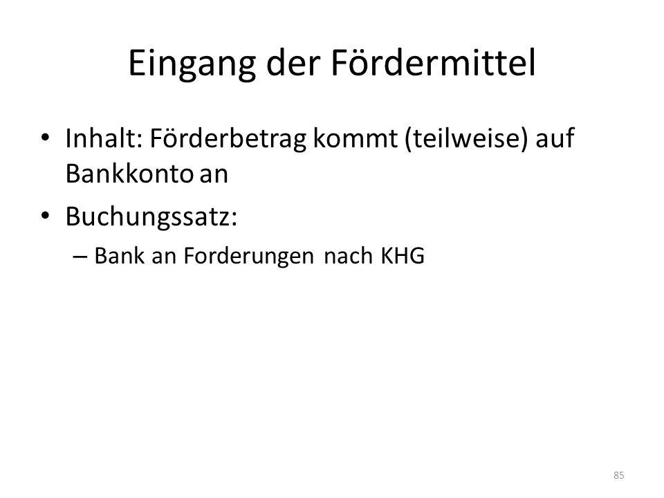 Eingang der Fördermittel Inhalt: Förderbetrag kommt (teilweise) auf Bankkonto an Buchungssatz: – Bank an Forderungen nach KHG 85