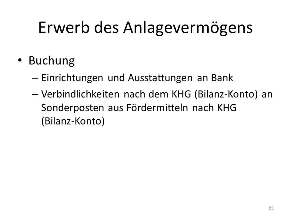 Erwerb des Anlagevermögens Buchung – Einrichtungen und Ausstattungen an Bank – Verbindlichkeiten nach dem KHG (Bilanz-Konto) an Sonderposten aus Fördermitteln nach KHG (Bilanz-Konto) 89