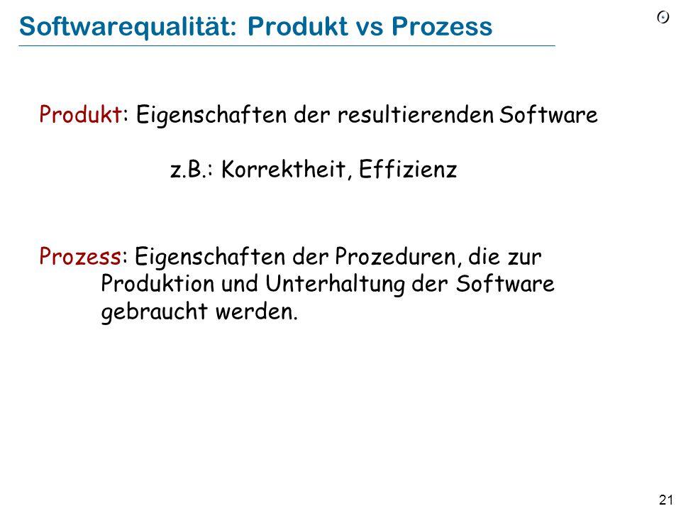 20 Externe vs. interne Softwarequalität Externe Faktoren: für den Kunden sichtbar (Nicht nur Endbenutzer, sondern auch z.B. Käufer) Beispiele : Benutz