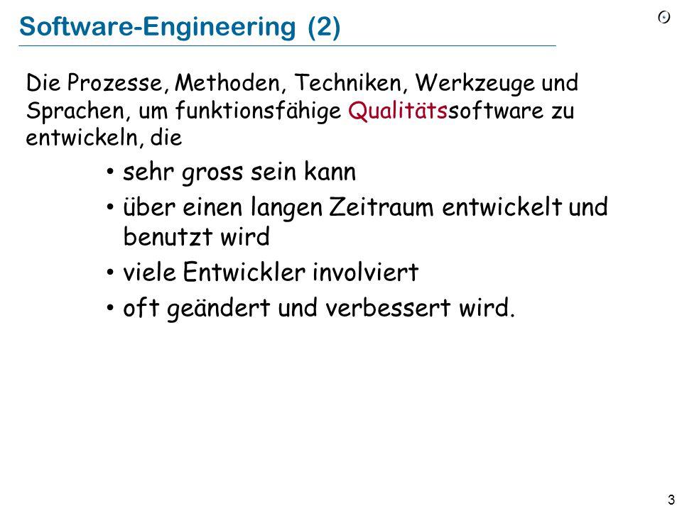 2 Software-Engineering (1) Die Prozesse, Methoden, Techniken, Werkzeuge und Sprachen, um funktionsfähige Qualitätssoftware zu entwickeln.