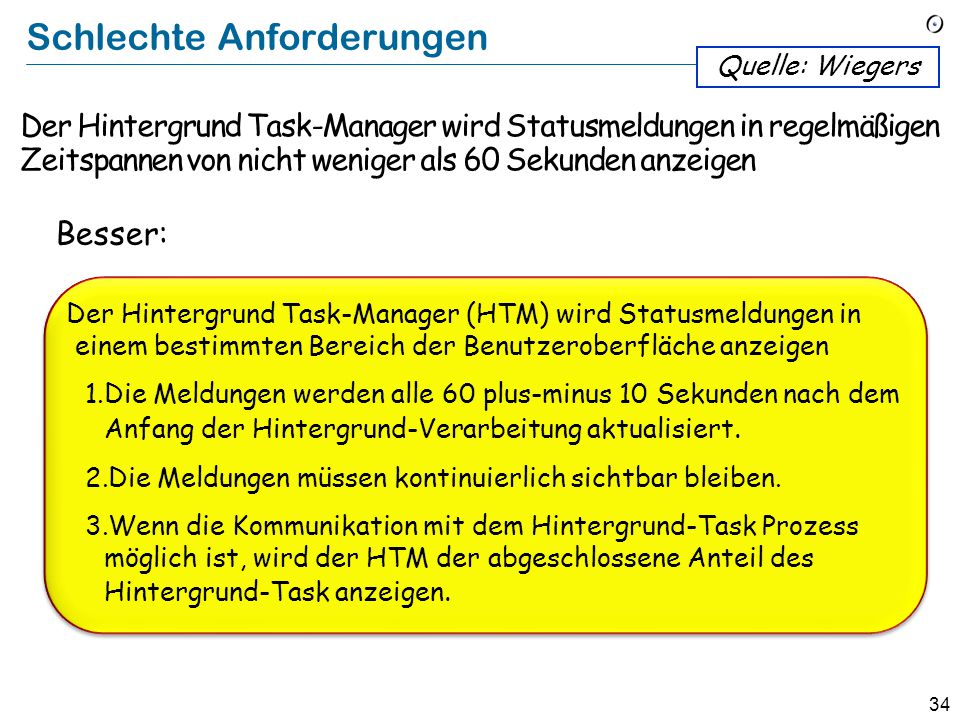 33 Schlechte Anforderungen The Background Task Manager shall provide status messages at regular intervals not less than 60 seconds. Quelle: Wiegers Th