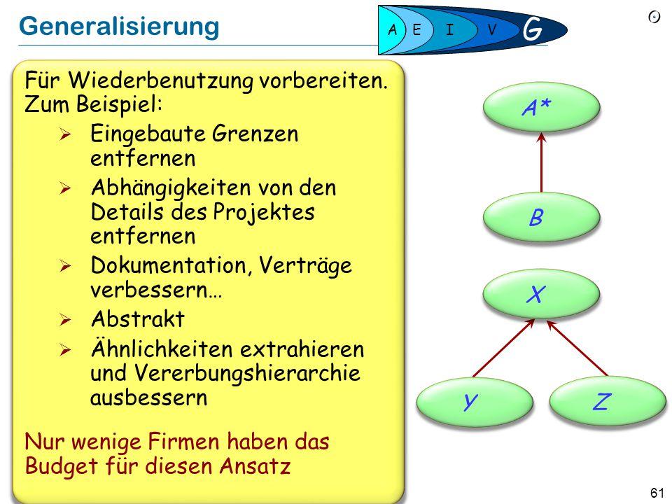 60 Nahtlose Entwicklung  Eine Notation, Werkzeuge, Konzepte, Prinzipien  Beständige, schrittweise Entwicklung  Modell, Implementation und Dokumenta