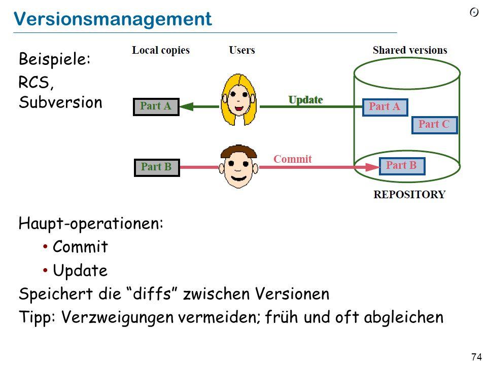 73 Build-Management Make (späte 70er Jahre): automatische Rekonstruktion eines Systems von einem makefile , das Abhängigkeiten auflistet Beispiel make program Mit dem makefile program: main.o module1.o module2.o cc main.o module1.o module2.o %.c: %.o cc $< Grösste Limitierung: Die Abhängigkeiten müssen manuell erfasst werden