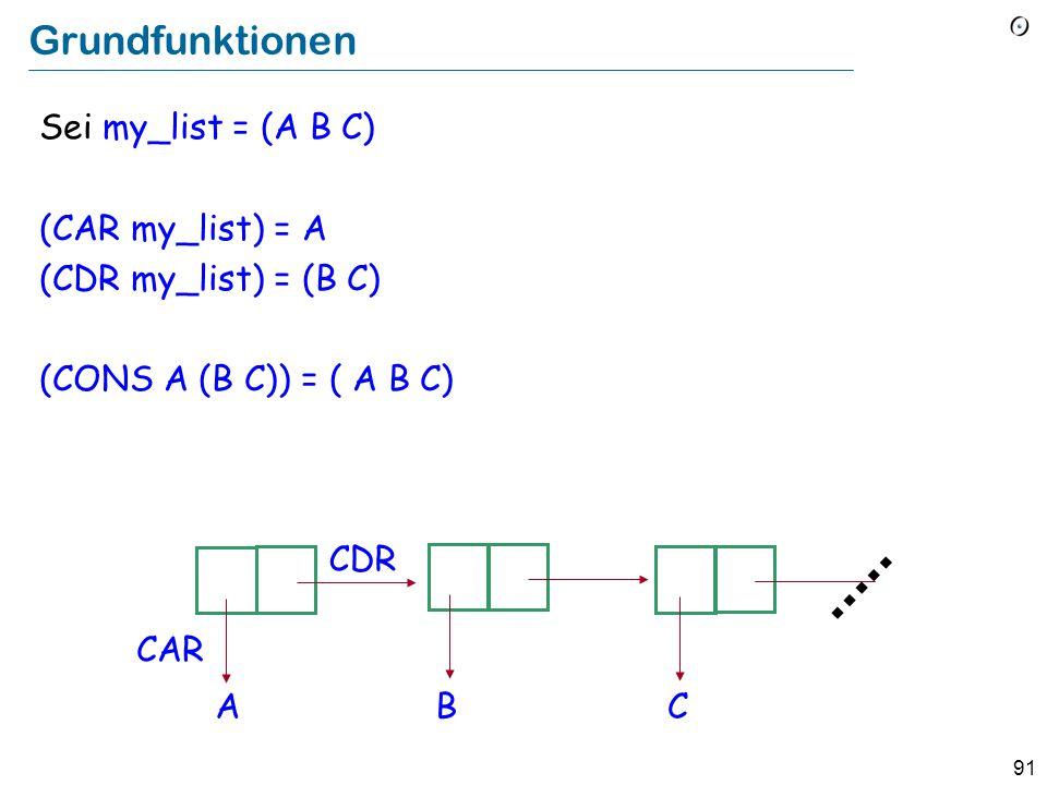 90 LISP Funktionsanwendung und Definition Die Anwendung (der Aufruf) einer Funktion f auf die Argumente a, b, c wird wie folgt geschrieben: (f a b c) Beispielfunktion (Scheme): (define (factorial n) (if (eq.
