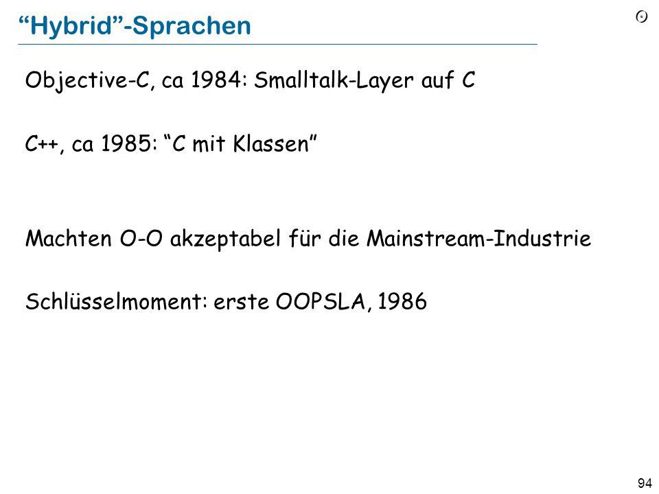 93 Objekt-orientierte Programmierung Simula 67: Algol 60 Erweiterungen für Simulationen, University of Oslo, 1967 (nach Simula 1, 1964). Kristen Nygaa