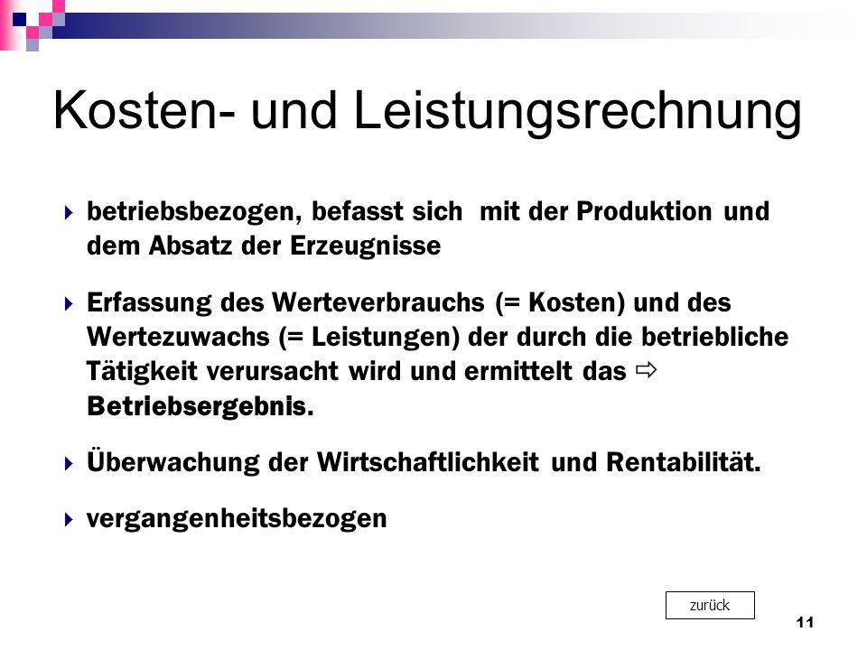Kosten- und Leistungsrechnung  betriebsbezogen, befasst sich mit der Produktion und dem Absatz der Erzeugnisse  Erfassung des Werteverbrauchs (= Kos
