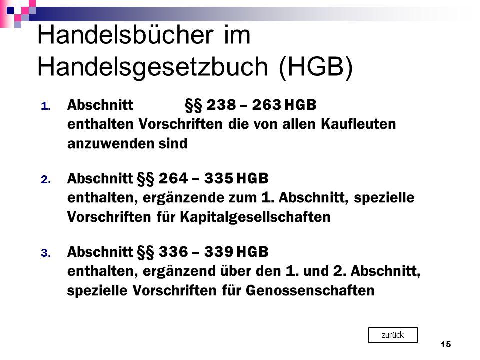 Handelsbücher im Handelsgesetzbuch (HGB) 1.