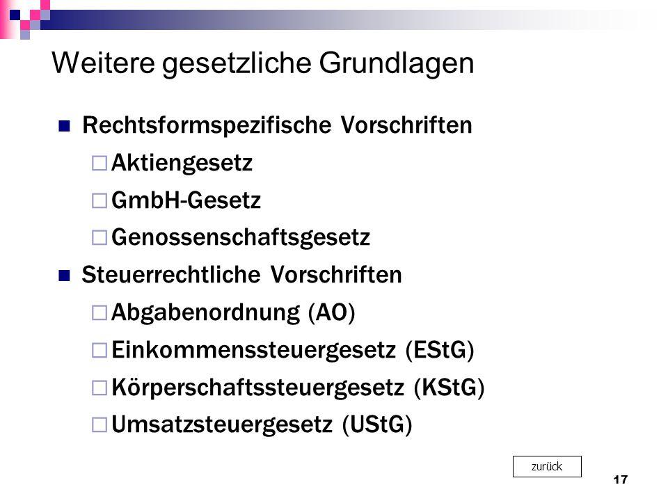 Weitere gesetzliche Grundlagen Rechtsformspezifische Vorschriften  Aktiengesetz  GmbH-Gesetz  Genossenschaftsgesetz Steuerrechtliche Vorschriften  Abgabenordnung (AO)  Einkommenssteuergesetz (EStG)  Körperschaftssteuergesetz (KStG)  Umsatzsteuergesetz (UStG) 17 zurück