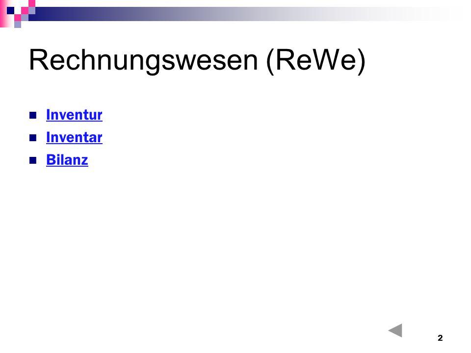 Rechnungswesen (ReWe) Inventur Inventar Bilanz 2