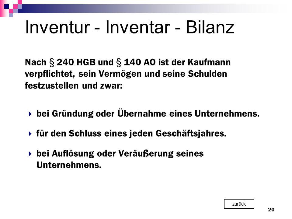 Inventur - Inventar - Bilanz Nach § 240 HGB und § 140 AO ist der Kaufmann verpflichtet, sein Vermögen und seine Schulden festzustellen und zwar:  bei Gründung oder Übernahme eines Unternehmens.