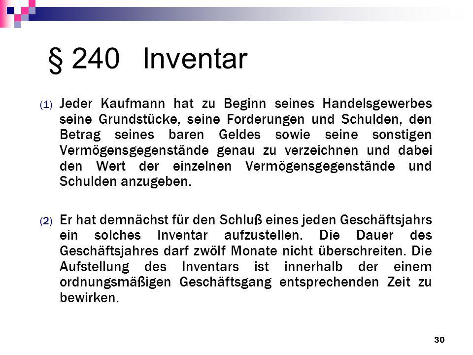 § 240Inventar (1) Jeder Kaufmann hat zu Beginn seines Handelsgewerbes seine Grundstücke, seine Forderungen und Schulden, den Betrag seines baren Gelde