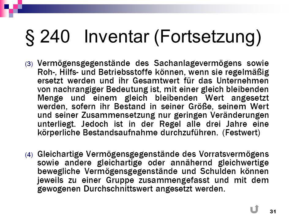 § 240Inventar (Fortsetzung) (3) Vermögensgegenstände des Sachanlagevermögens sowie Roh-, Hilfs- und Betriebsstoffe können, wenn sie regelmäßig ersetzt