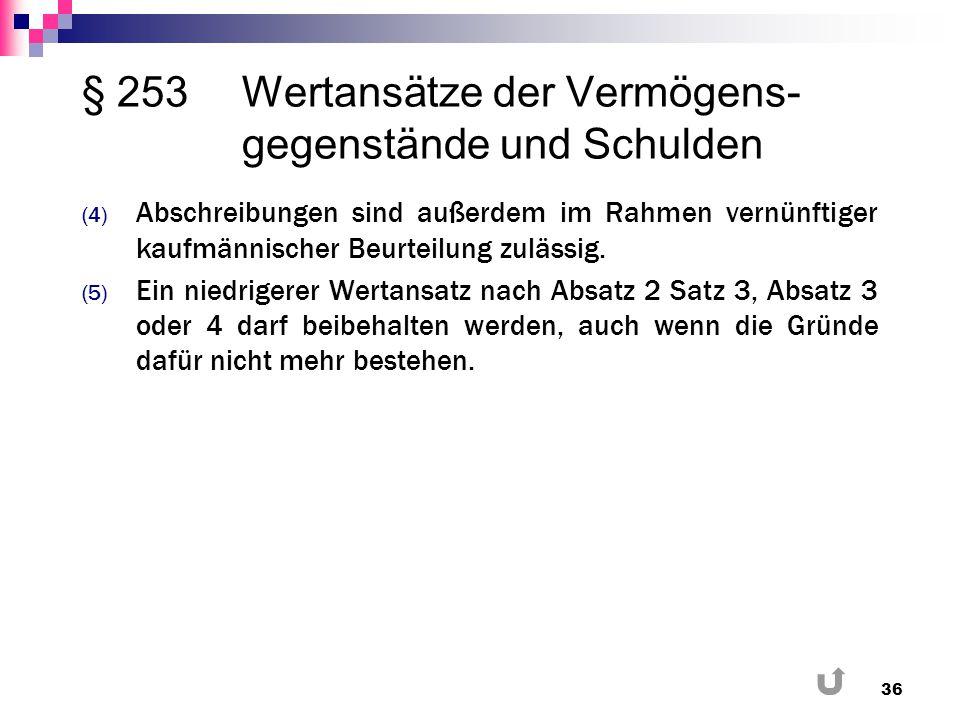 § 253Wertansätze der Vermögens- gegenstände und Schulden (4) Abschreibungen sind außerdem im Rahmen vernünftiger kaufmännischer Beurteilung zulässig.