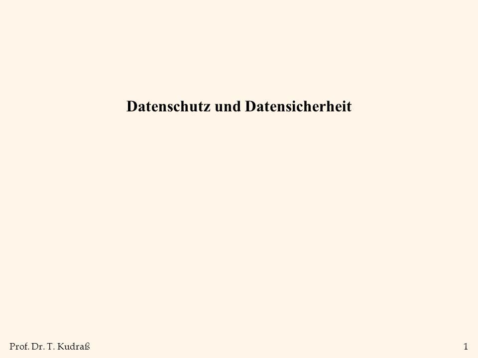 Prof. Dr. T. Kudraß1 Datenschutz und Datensicherheit